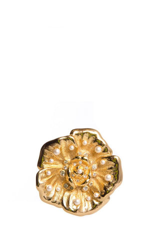 Christian DiorGold Vinage Pearl Brooch