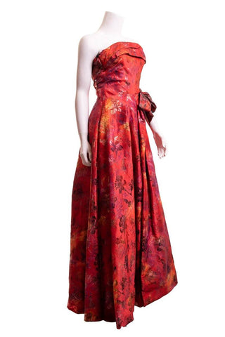 Christian Lacroix Red Strapless Floral Gown SZ 44