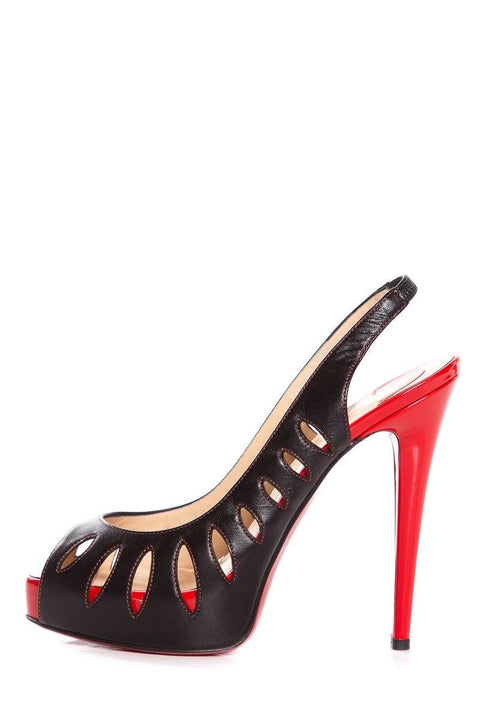 brand new 76e65 df60d Christian Louboutin Black & Red Cut-Out Peep Toe Pumps SZ 38.5