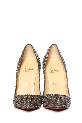 Christian Louboutin Black Crystal Pointy Toe Pumps 36.5