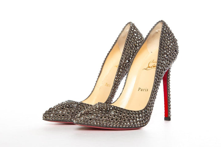 promo code 7ff4d 66848 Christian Louboutin Black Crystal Pointy Toe Pumps 36.5