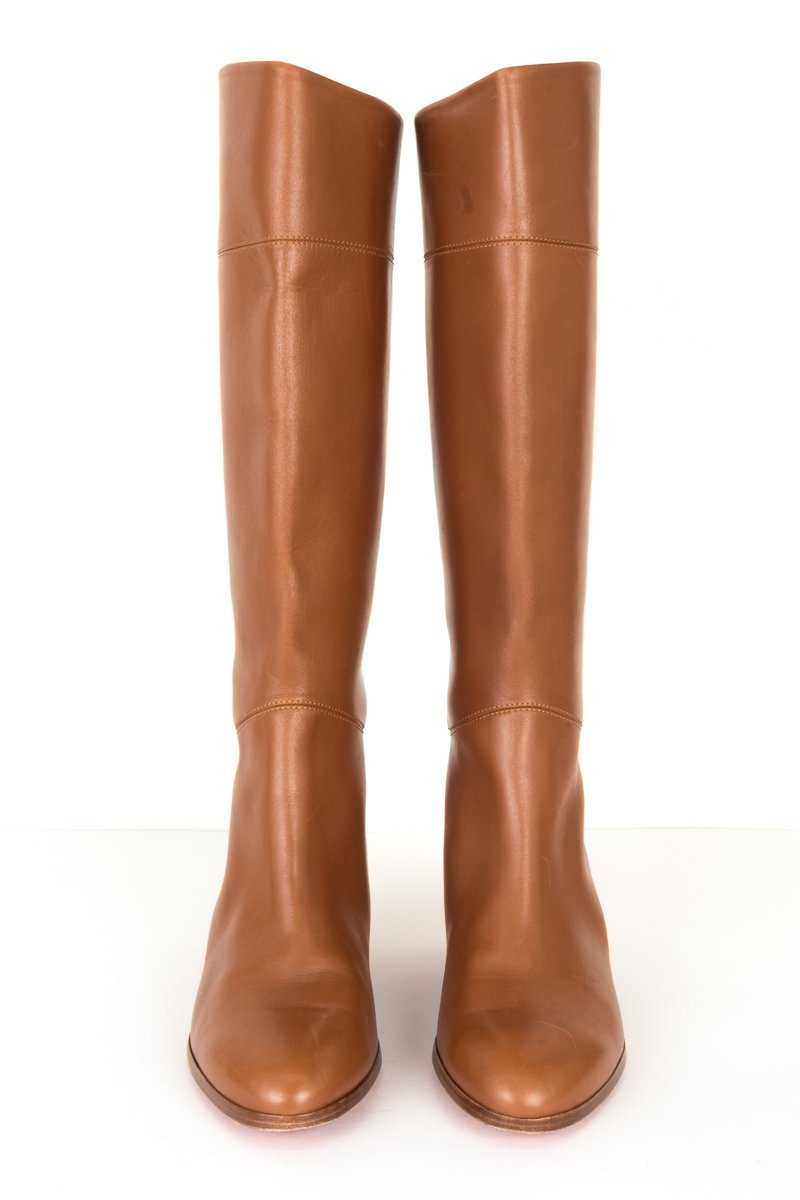 67542340621 Christian Louboutin Camel Tan Leather Boots 39.5