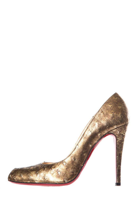 huge selection of fc7b0 b4aef Christian Louboutin Metallic Gold Ostrich Pumps SZ 39
