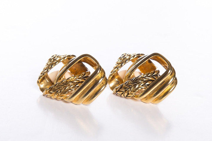 Claire Deve Gold Vintage Braided Chain Link Clip On Earrings