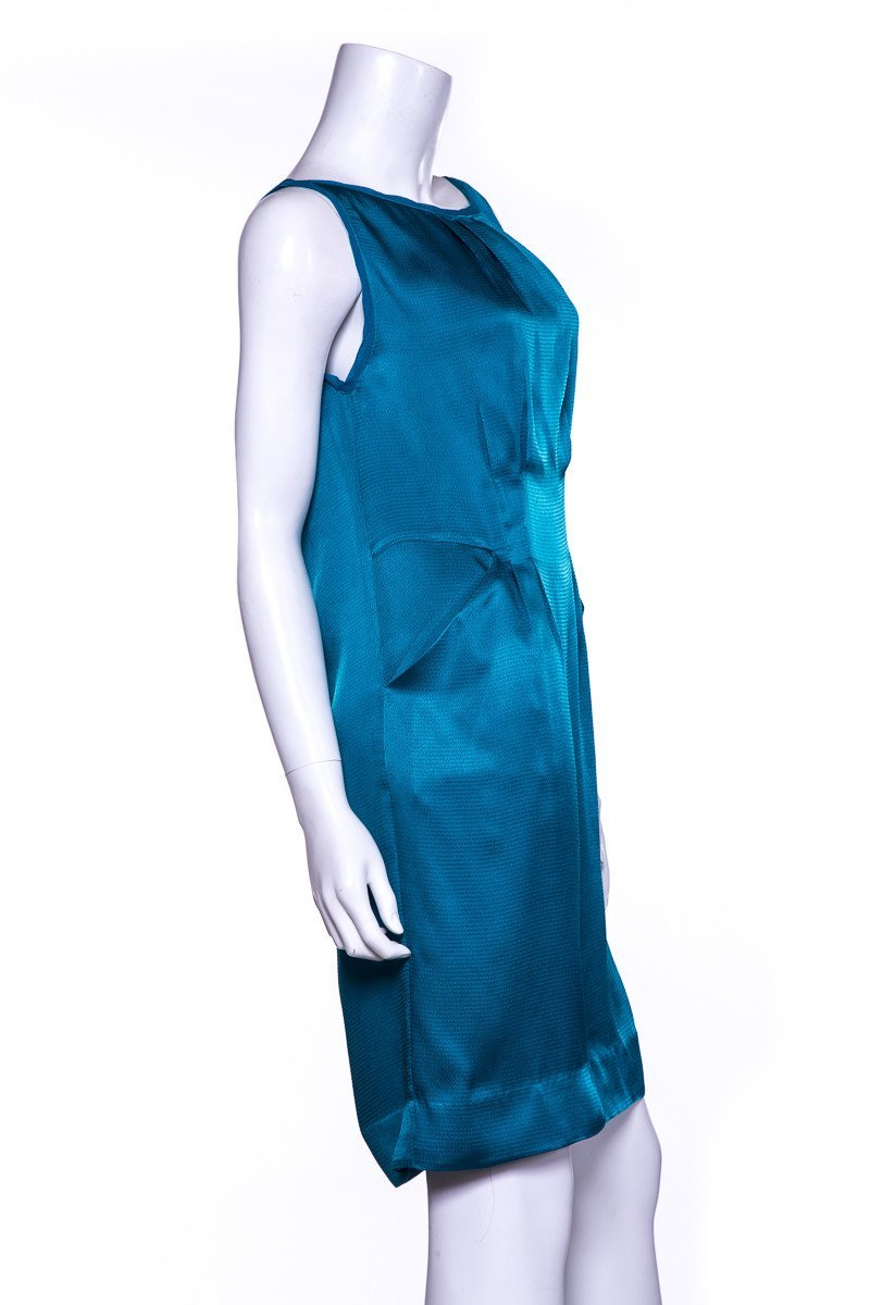 DVF Teal Sleeveless Darted Dress SZ 4