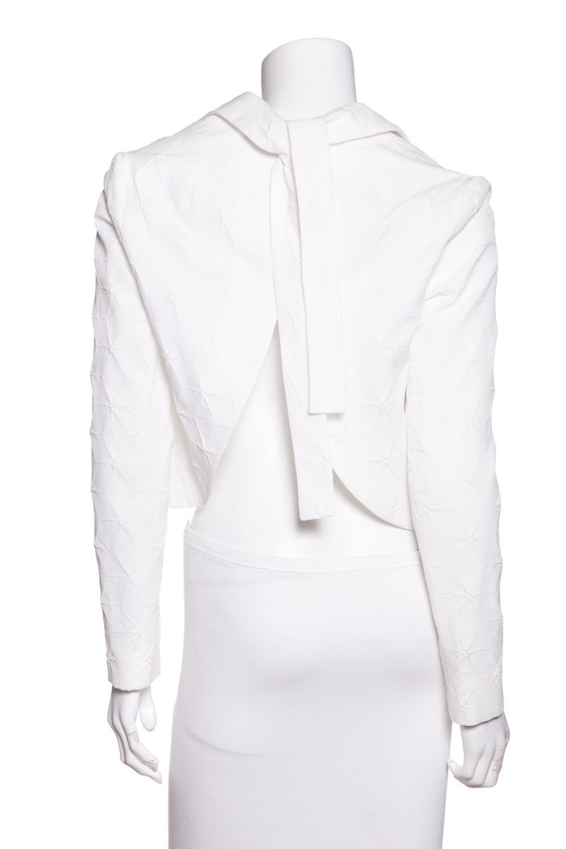 Delpozo White Textured Crop Blazer SZ 34 Sale