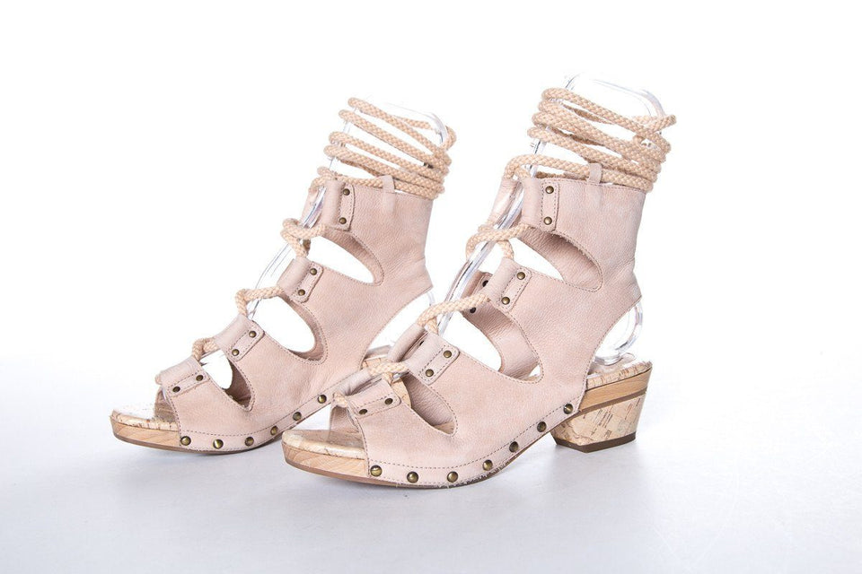 Derek Lam Nude Pebbled Leather Sandals SZ 37