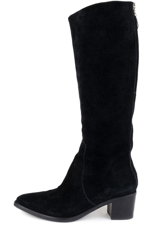 Diane Von Furstenburg Black Suede Knee High Boots 8
