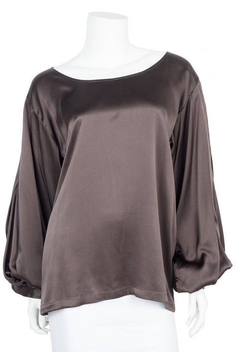 9740324816858a Dries Van Noten Olive Silk Long Sleeve Blouse Sz 40