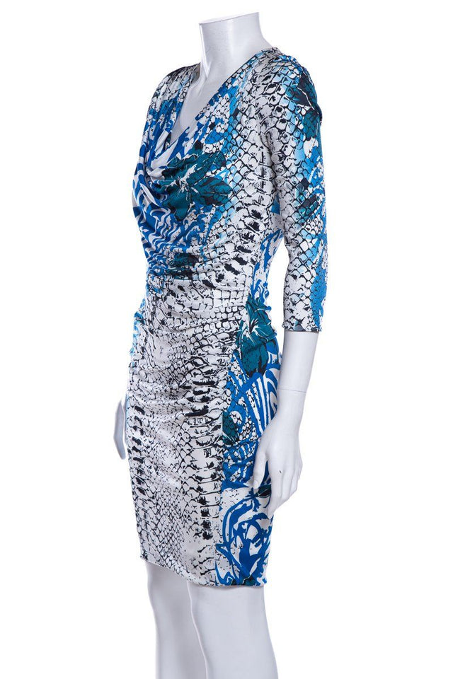 Emilio Pucci Multi Color Abstract Print Long Sleeve Dress SZ 4