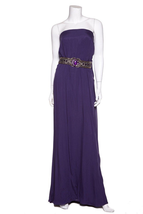 Escada Purple Strapless Silk Evening Gown SZ 10 NWT
