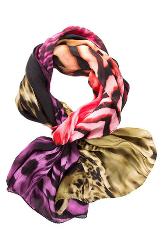 Escada Sport Color-Blocked Animal Print Multi Scarf