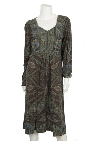 Etro Green Print Long Sleeve Dress Sz 48