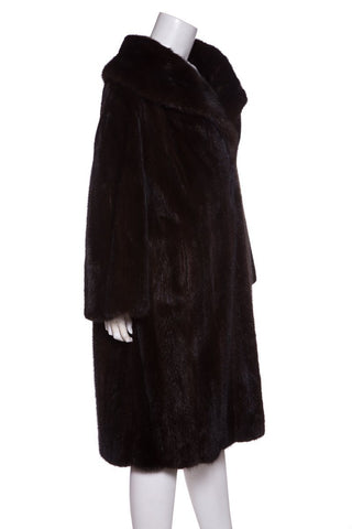 Evans Brown Shawl Collar Knee-Length Mink Coat
