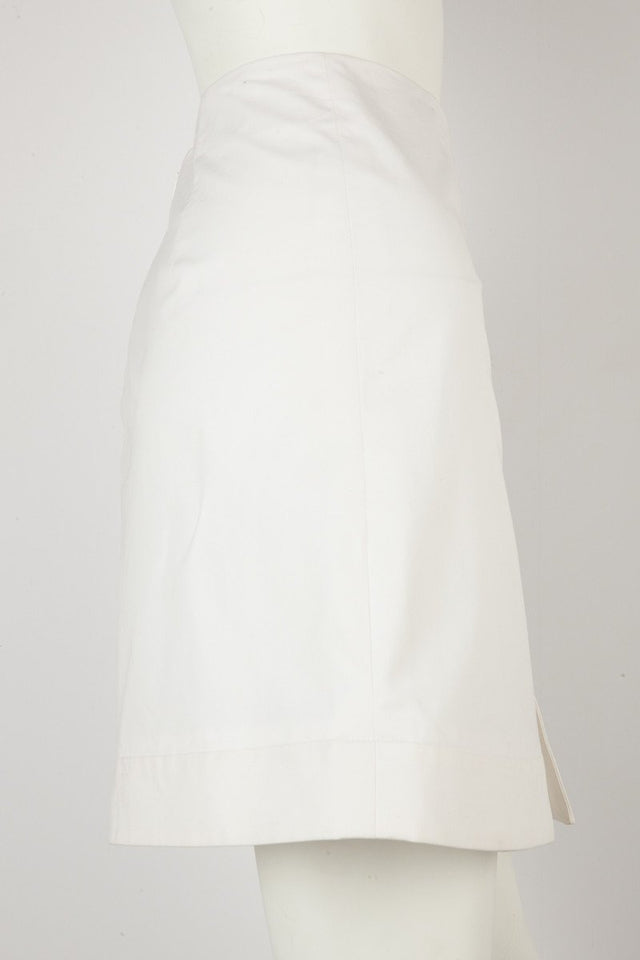 Fendi White Cotton Skirt with Leather Floral Detail Sz 8