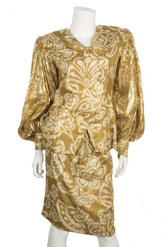 Galanos Vintage Gold Skirt Set