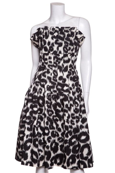 Giambattista Valli Black   White Leopard Print Pleated Flare Dress SZ ... cce8549db
