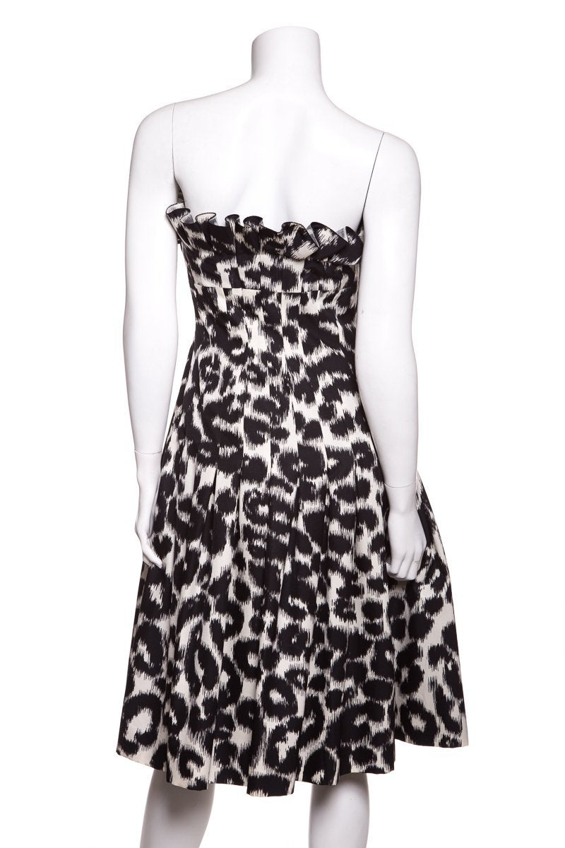 Giambattista Valli Black   White Leopard Print Pleated Flare Dress SZ S Sale 737f06e4a