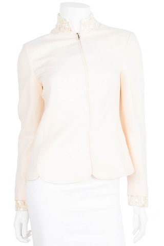 Gianni Versace NWT Cream Pearl Collar Jacket Sz 38