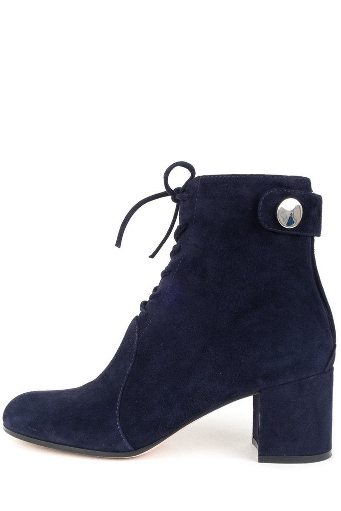 Gianvito Rossi Navy Blue Suede Lace Up