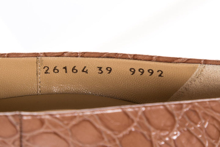 Giuseppe Zanotti Tan Embossed Leather Round Toe Pumps SZ 39 Sale