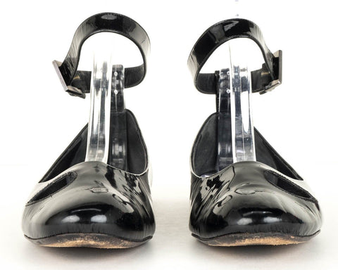 Givenchy Black Patent Leather Ankle Strap Flats 37.5