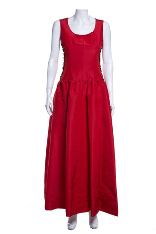 Givenchy Red Haute Couture Vintage Sleeveless Gown SZ M