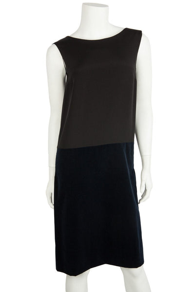 Golden Goose NWT Black Bodice and Navy Velvet Bottom Sleeveless Dress Sz Small