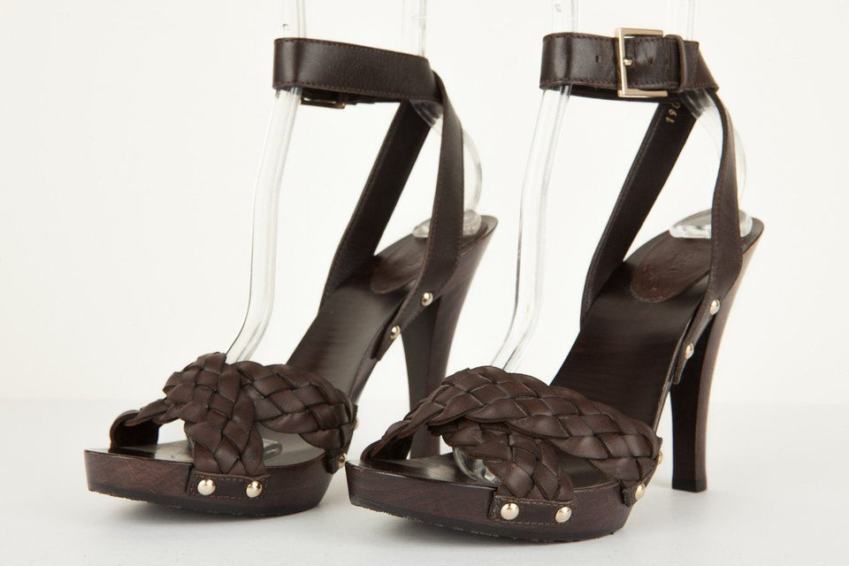 Gucci 6.5 Dark Brown Braided Leather and Wooden Sandal