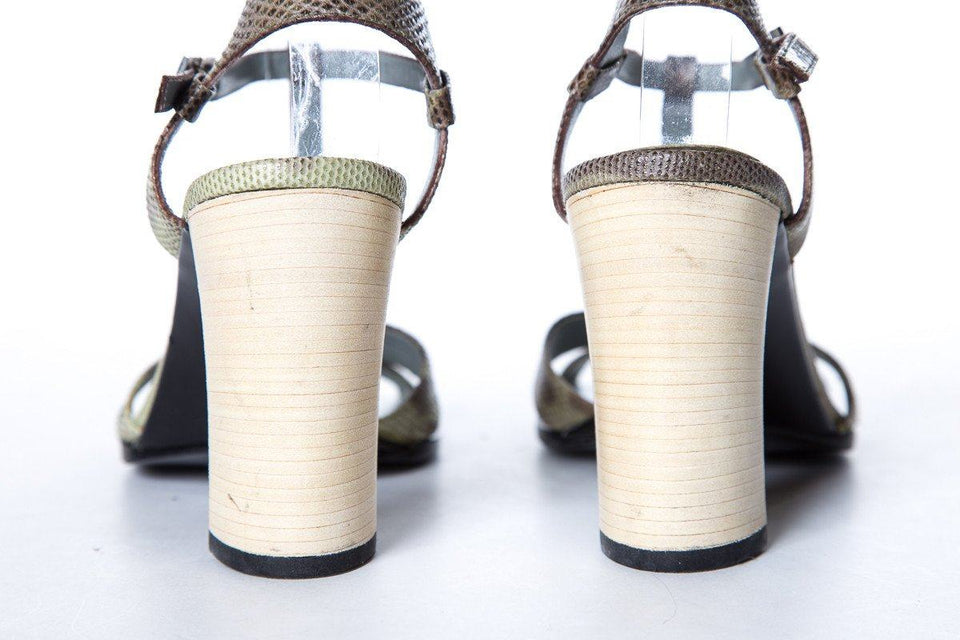 Gucci Brown & Green Exotic Strap Sandals SZ 36