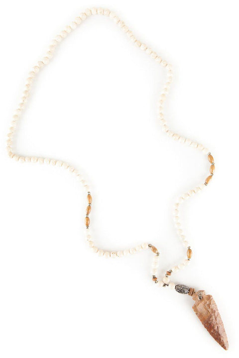 Heather Asbury Long Cream Bead And Arrowhead Necklace