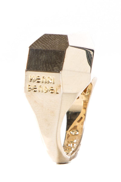 Henri Bendel Gold-Tone Faceted Engraved Logo Ring  SZ 6