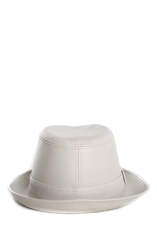 Hermès Light Grey Leather Fedora Hat SZ 55