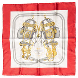 Hermes Red 'Brides de Gala' Small Square Silk Scarf