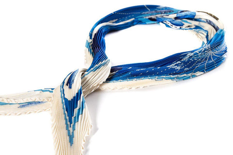 Hermès Cream & Blue Silk Plissé Golf Motif Scarf