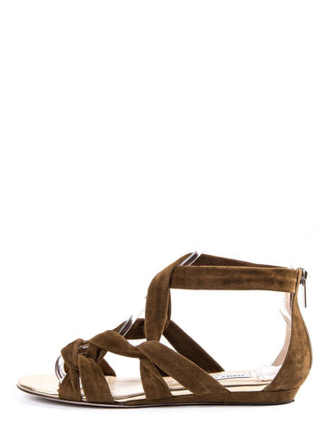Jimmy Choo Brown Suede Strappy Sandals SZ 38