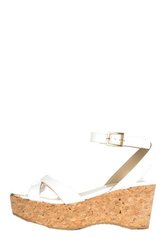 Jimmy Choo White Patent Leather Cork Wedge 37