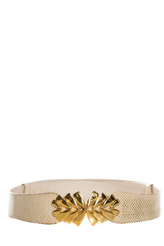Judith Leiber Cream Karung Leather Textured Ornate Belt