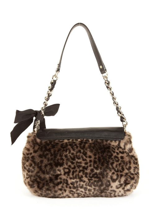 Kate Spade Gray Leopard and Black Leather Shoulder Bag