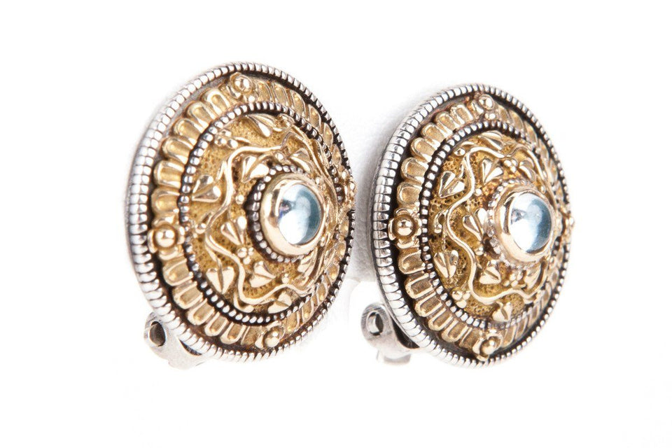 Konstantino Gold & Silver Earrings With Pale Blue Stone