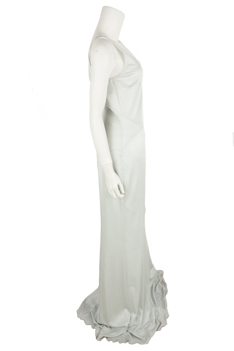 L'Wren Scott Long Silver Sleeveless Gown  Sz 8