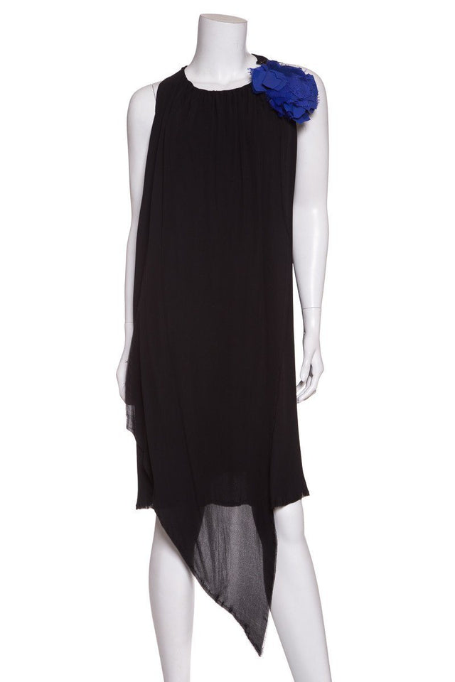 Lanvin Black and Blue Sleeveless Shift Dress SZ 42