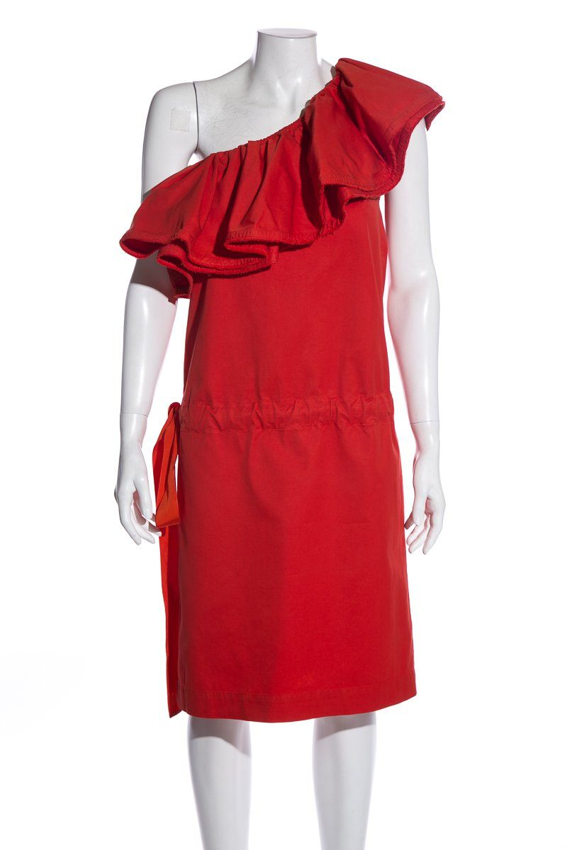 Lanvin Orange One-Shoulder Sleeveless Dress SZ 36