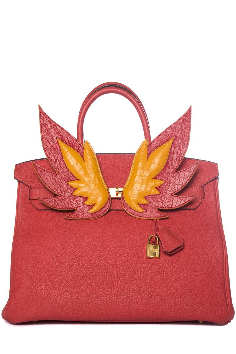 Le Marais 101 Red Flame Leather Handbag Embellishment