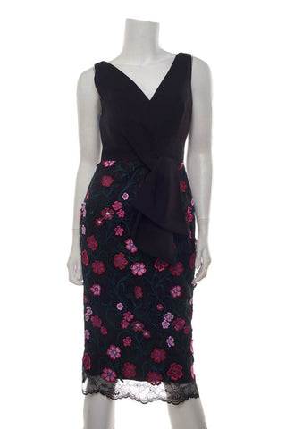 Lela Rose Black & Multi Floral Applique Dress SZ 4 NWT