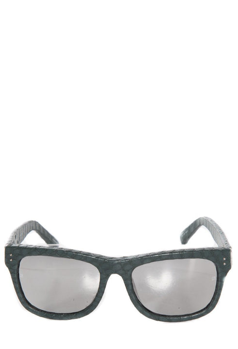 Linda Farrow Green Snakeskin Embossed Sunglasses