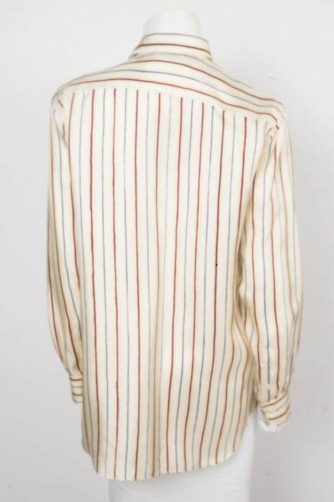 Loro Piana Beige Pinstripe Silk Button Up Sz 46
