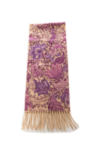 Loro Piana Tan & Purple Cashmere Scarf