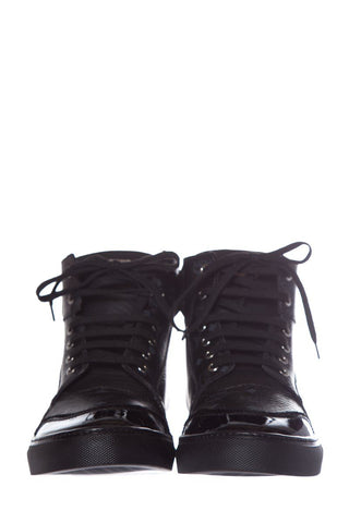 MCM Black Leather High-Top Sneakers SZ 43