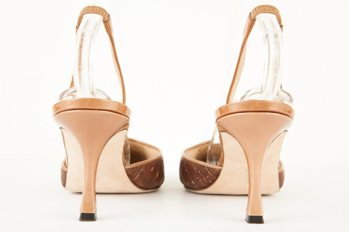 Manolo Blahnik 39.5 Brown Cork and Patent Leather Slingback Heels